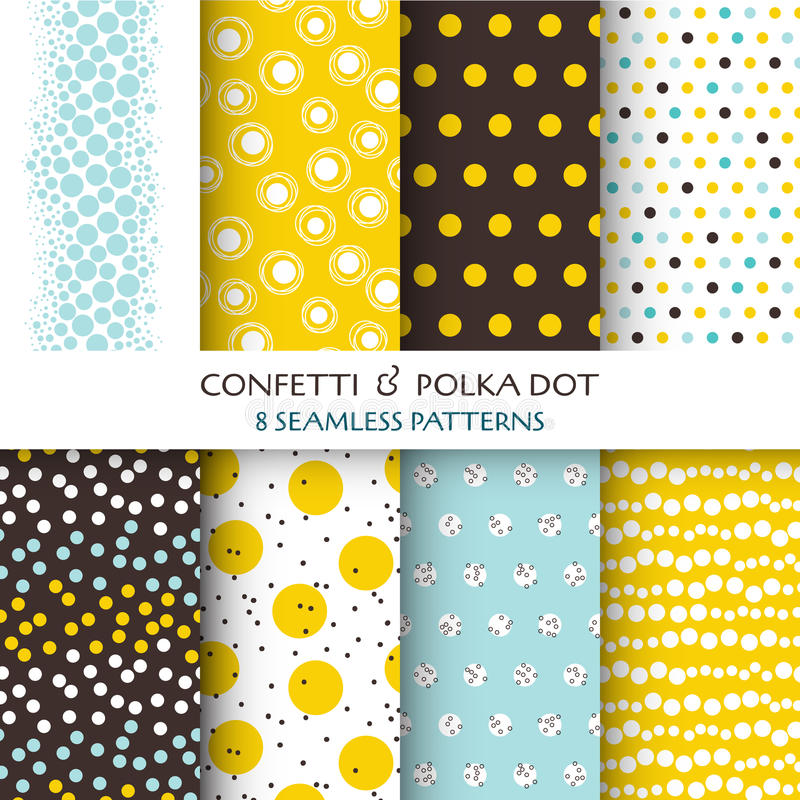 8 Seamless Patterns - Confetti and Polka Dot royalty free illustration
