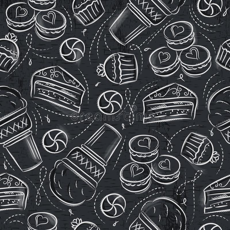Seamless Patterns with cupcake, ice cream, cake and cookie on gr. Unge blackboard. Ideal for printing onto fabric and paper or scrap booking vector illustration