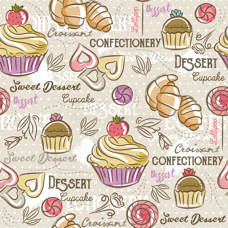 Seamless Patterns with different sweetmeats. Seamless Patterns with different sweetmeats Background with cupcake, croissant, cake and bonbon. Ideal for printing vector illustration