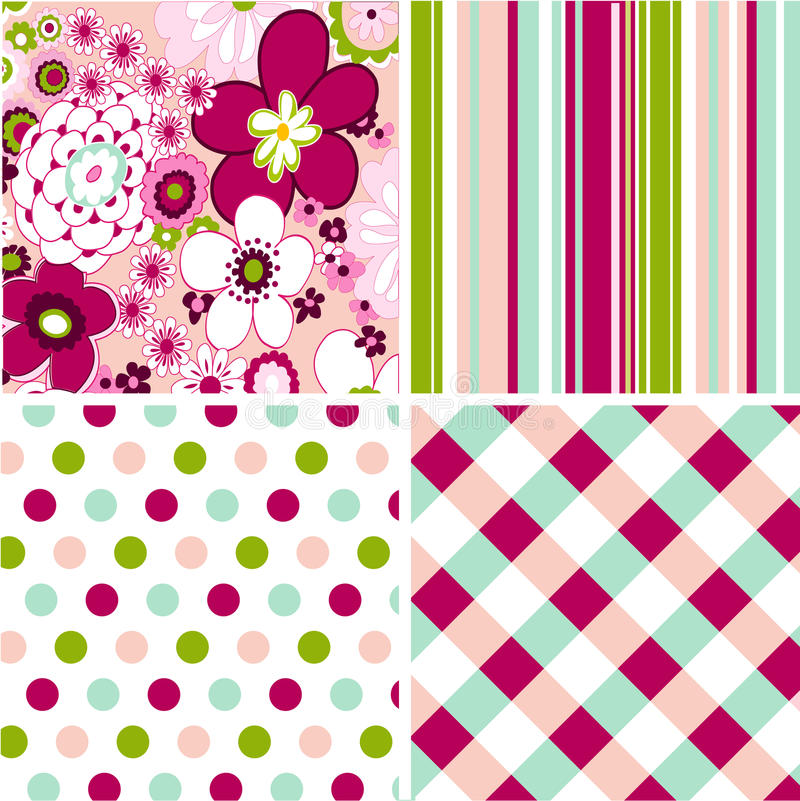 Download Seamless Patterns With Fabric Texture Stock Vector - Image: 20735381