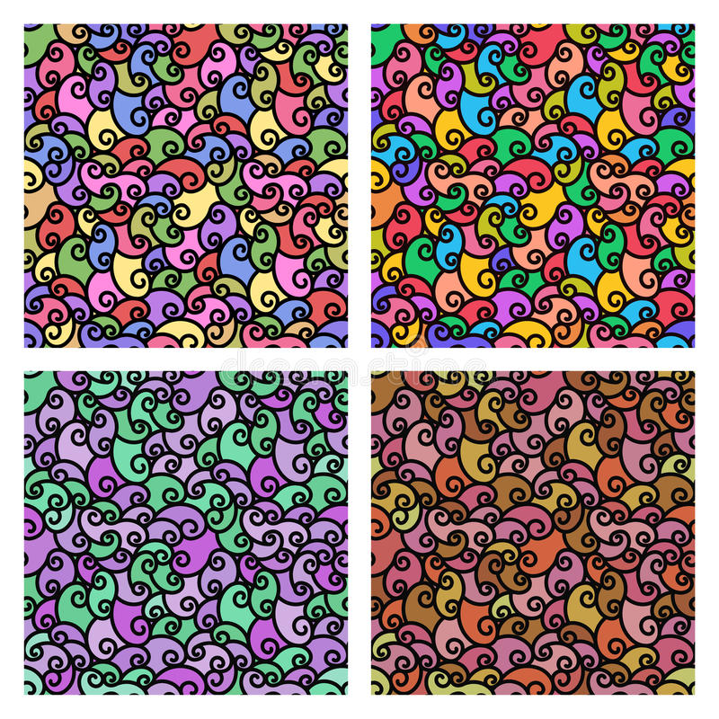 Seamless patterns with fabric texture. Spiral lines set colorful background royalty free illustration