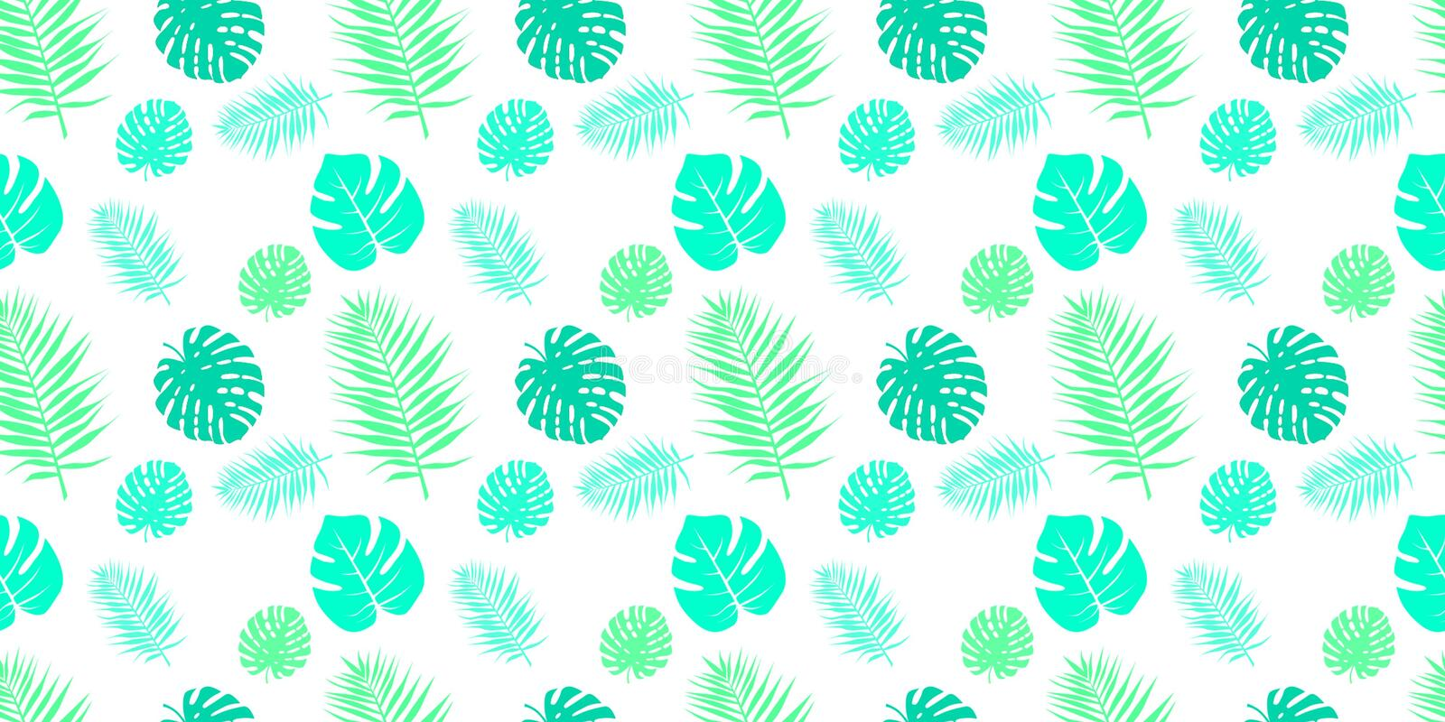 Seamless patterns with fabric texture. Tropical leaves on a white background. stock illustration