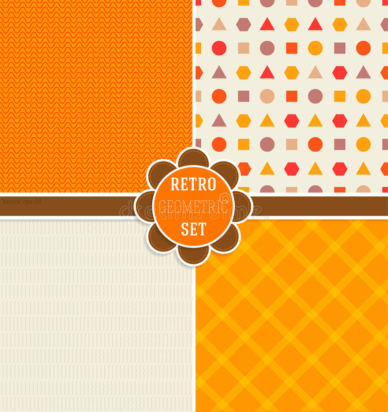 Seamless patterns in Fall colors and pattern on Thanksgiving Day in retro style. Geometric background royalty free illustration