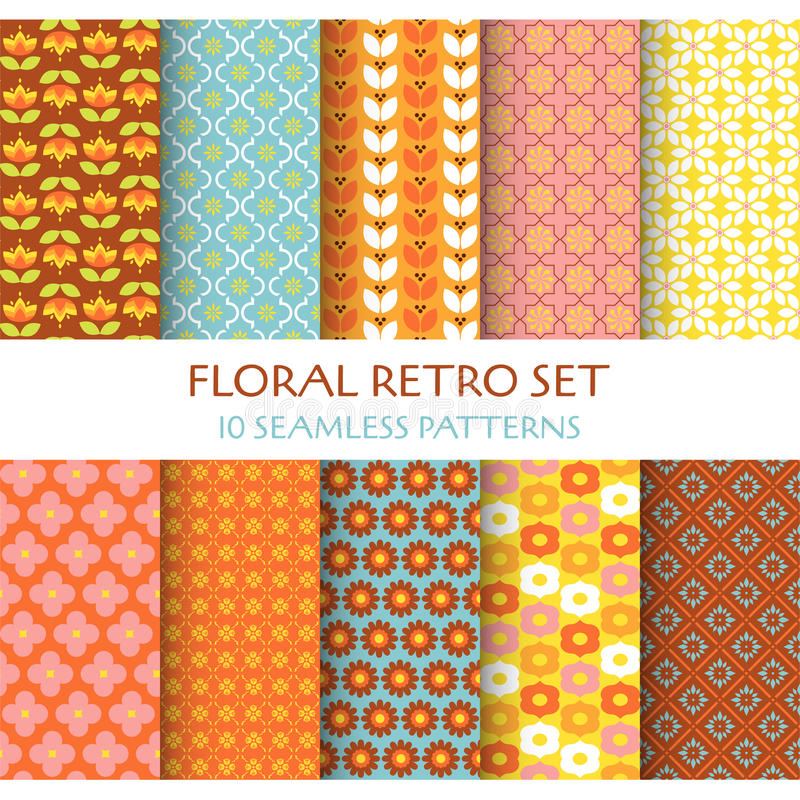 10 Seamless Patterns - Floral Retro royalty free illustration