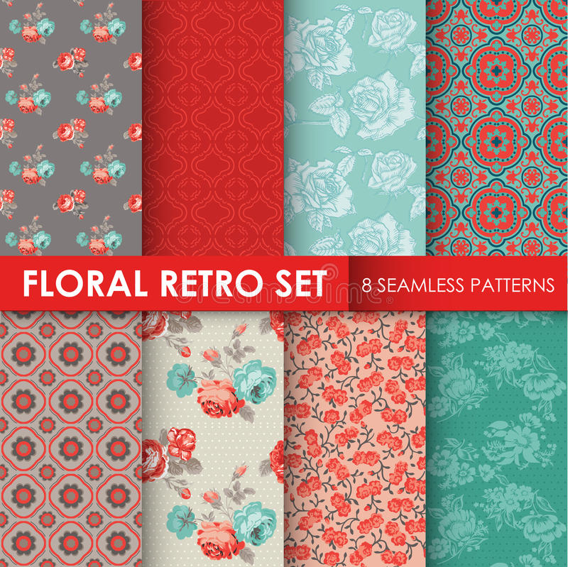 8 Seamless Patterns - Floral Retro Set stock illustration