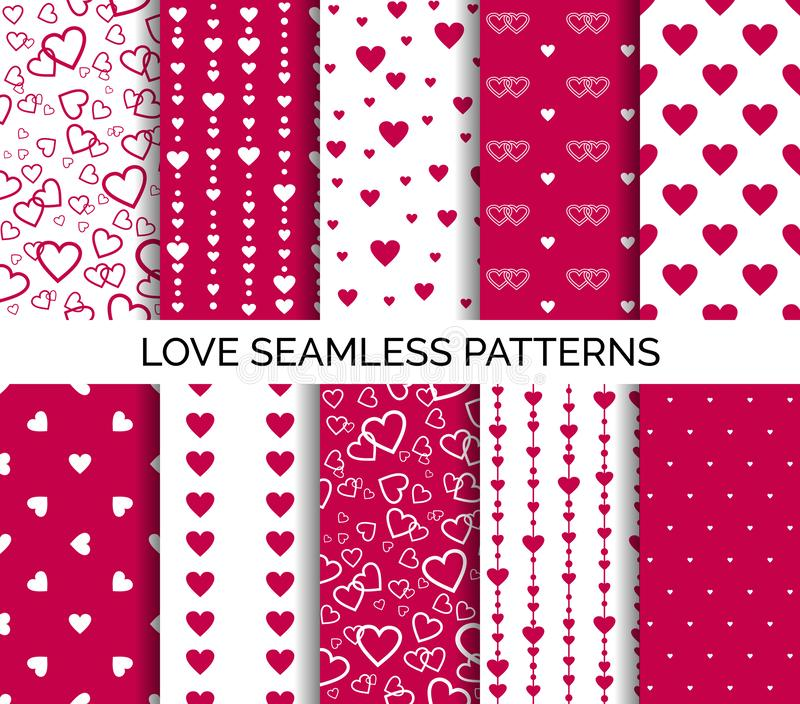 Seamless patterns with hearts. Set of vector backgrounds for Valentine`s day, wedding party stock illustration