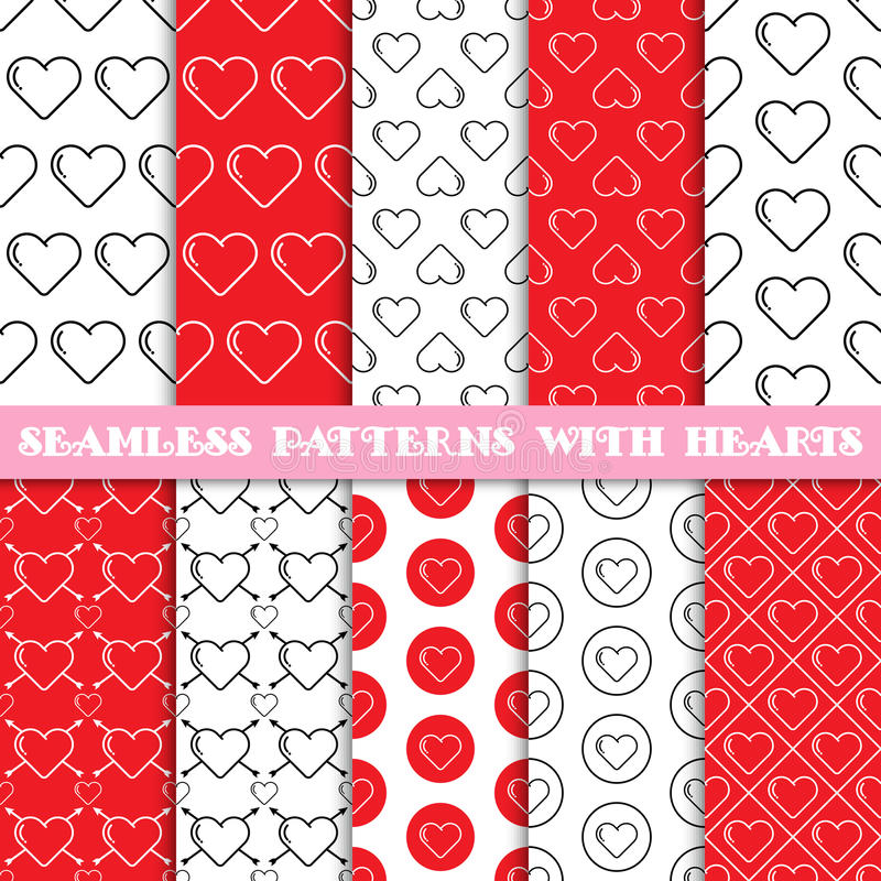 Seamless patterns with hearts royalty free illustration