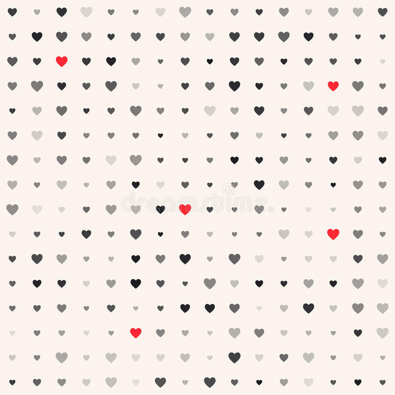 Seamless patterns with hearts. Valentine`s day background vector illustration