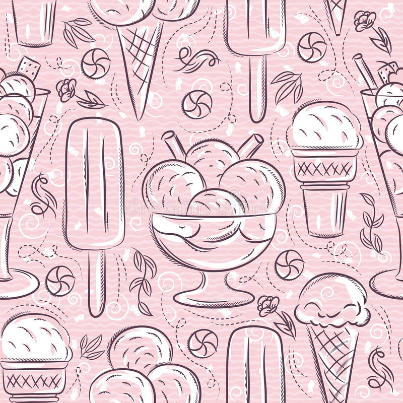 Seamless Patterns with ice cream on pink backgroundIdeal for printing onto fabric and paper or scrap booking. Seamless Patterns with ice cream on pink stock illustration
