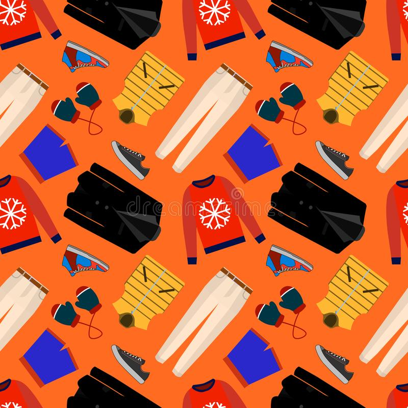 Seamless patterns of male clothes, shoes and accessories for online store. Men s wear backgrounds for shops. Vector vector illustration