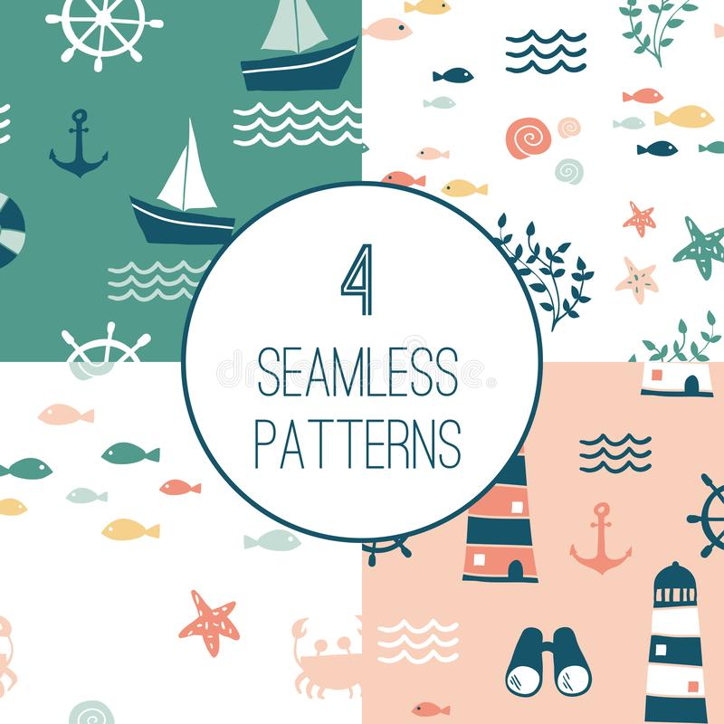 4 Seamless patterns with nautical design elements stock illustration