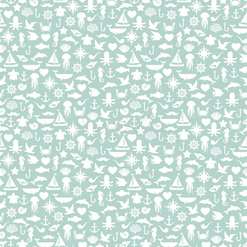 Free Seamless Patterns Of Marine Symbols. Vector Stock Photo - 48247790
