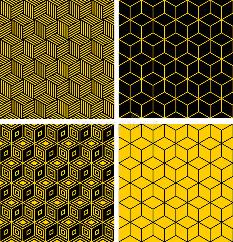 Seamless patterns with optical illusion effect. Seamless patterns set. Geometric textures with optical illusion effect. Vector art vector illustration