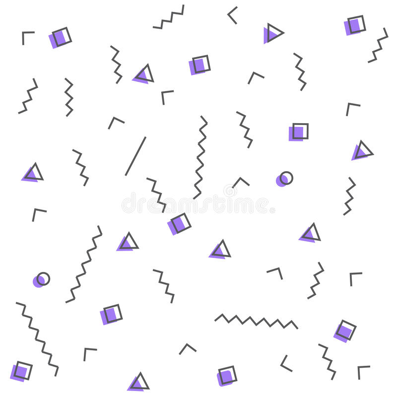 Seamless patterns in purple colors with geometric elements. Pattern hipster style stock illustration