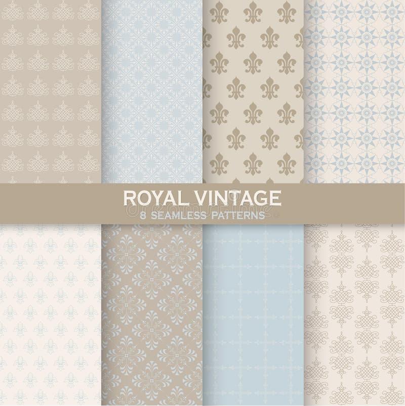 8 Seamless Patterns - Royal Vintage Set royalty free illustration