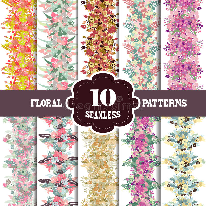 Seamless patterns set. 10 elegant seamless patterns with hand drawn decorative flowers, design elements. Floral patterns for wedding invitations, greeting cards stock illustration