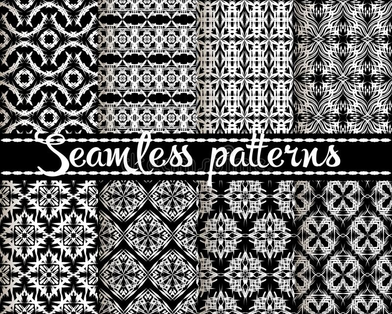 Seamless patterns set. Ethnic style ornamental geometric backgrounds. Tribal repeat black and white backdrops. Decorative abstract stock illustration