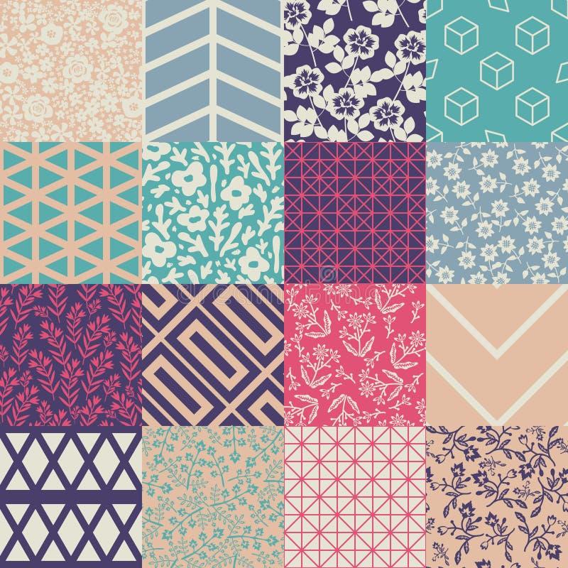 Seamless patterns set stock illustration