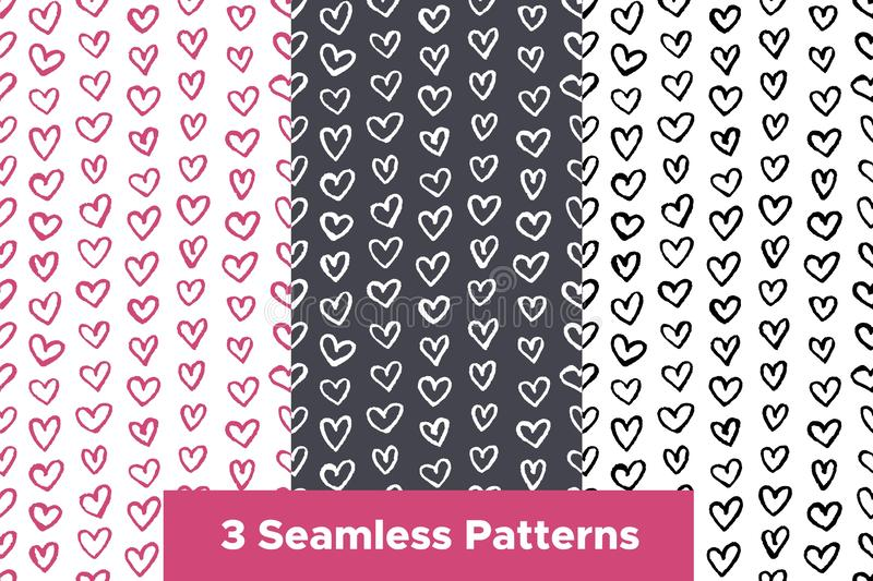 Seamless patterns set with hand drawn color hearts. Childish style ornament for wrapping paper. Vector background for Valentines Day stock illustration