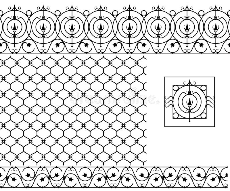 Seamless patterns set for wrought iron railing grating