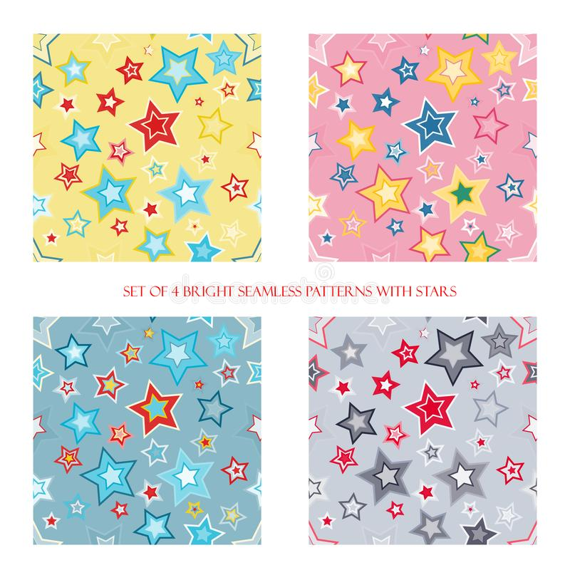 Seamless patterns with stars royalty free illustration