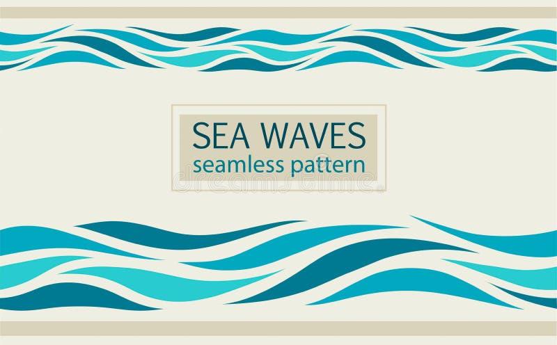 Seamless patterns with stylized sea waves stock illustration