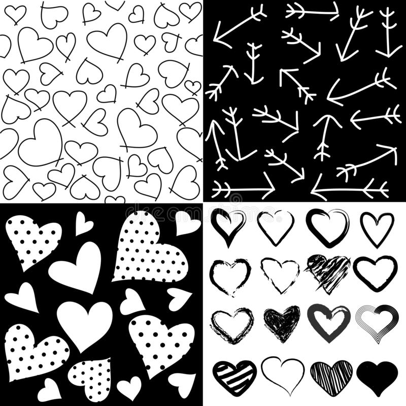 Seamless patterns for Valentine`s day, set of 4 stock illustration