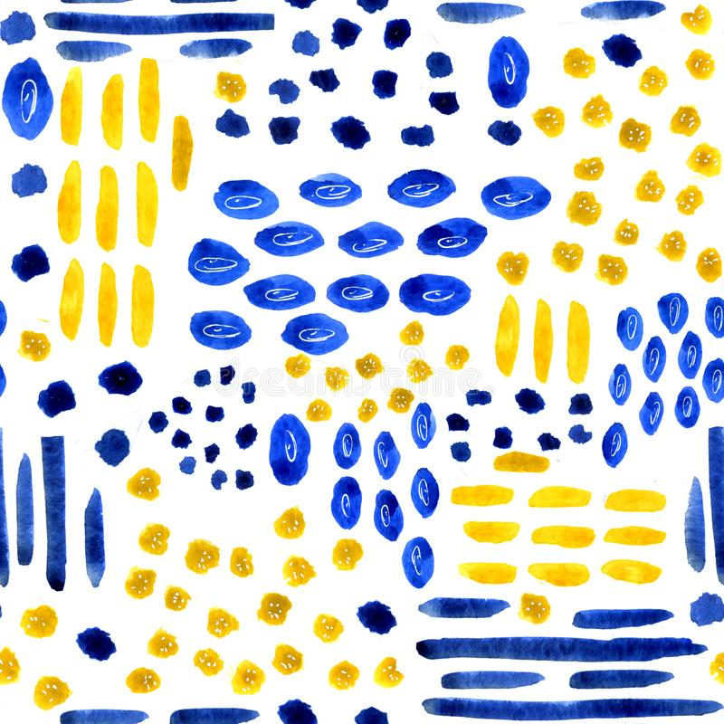 Seamless patterns from watercolor stains and white background with random elements. Dotted abstract pattern for the design of. Backgrounds, covers, prints vector illustration
