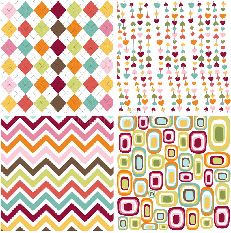 Free Seamless Patterns With Fabric Texture Royalty Free Stock Photo - 15802525