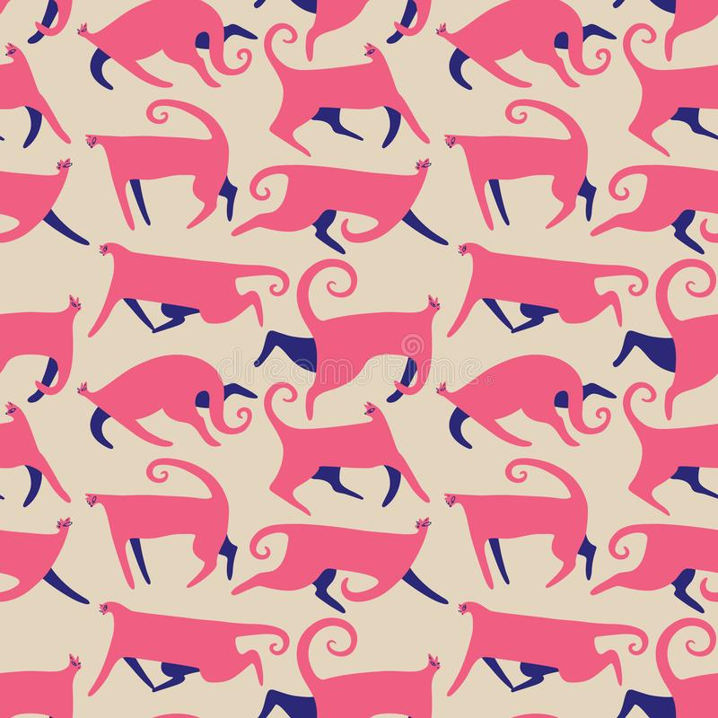 Seamless patternt with doodle cats. Background with running kitten in cute flat style. Vector illustration vector illustration