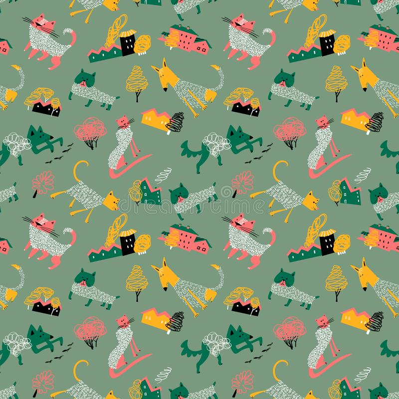 Seamless patternt with doodle cats and dogs in urban landscape. Background with pets stock illustration
