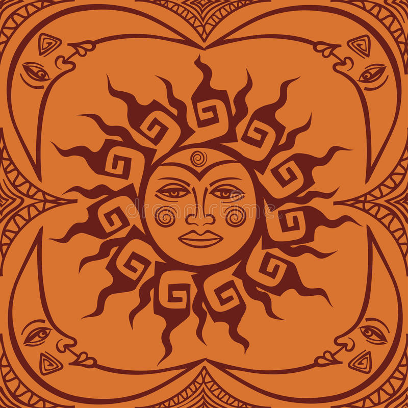 Seamless pattren of tribal sun and crescent moon vector illustration