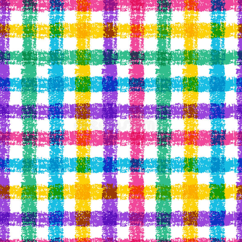 Seamless pencil sketch plaid pattern with colorful stripes. Vector background.  stock illustration