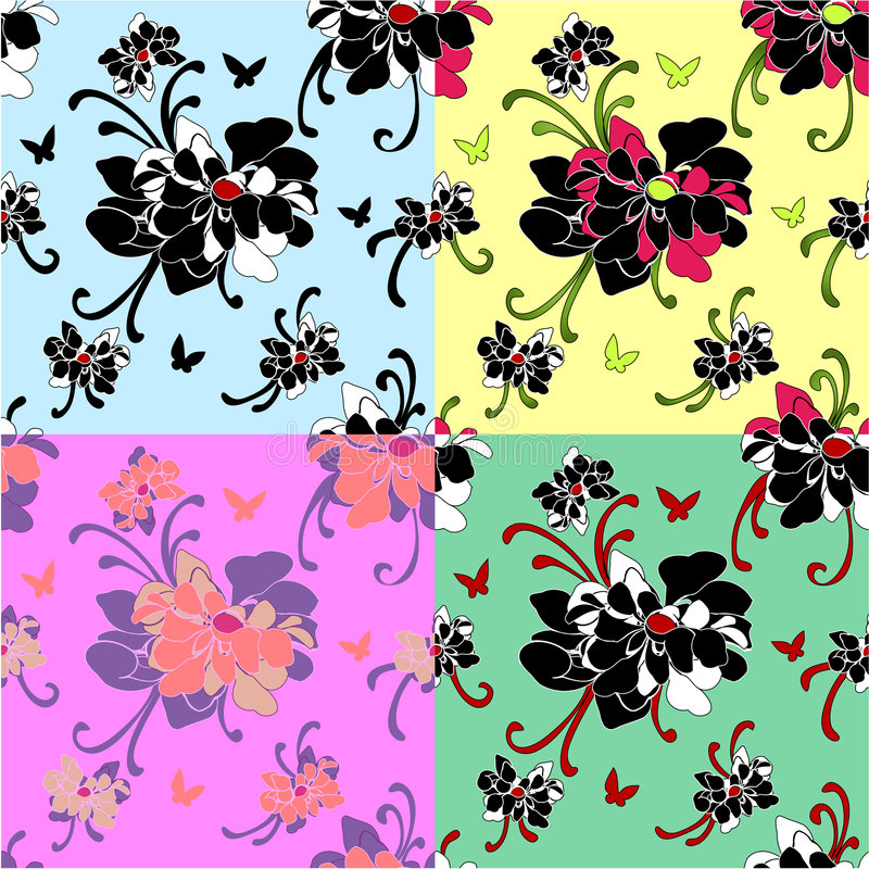 Seamless peony motif wallpaper