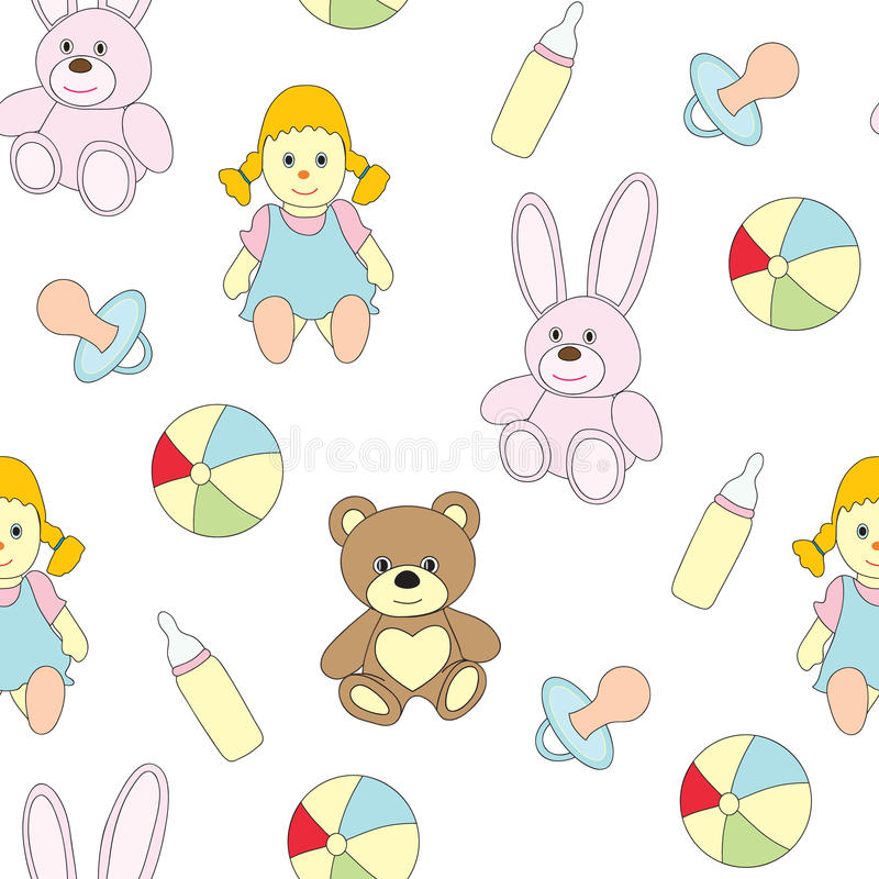 Seamless picture with toys for children. A vector pattern with a doll, a baby`s dummy, a pacifier, a ball, a hare, a bear . royalty free illustration