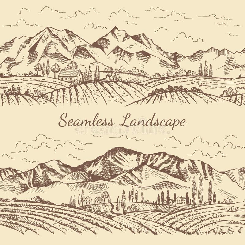 Seamless pictures of nature landscape. Vineyard or countryside illustrations. Vector vineyard and mountain, nature field countryside vector illustration