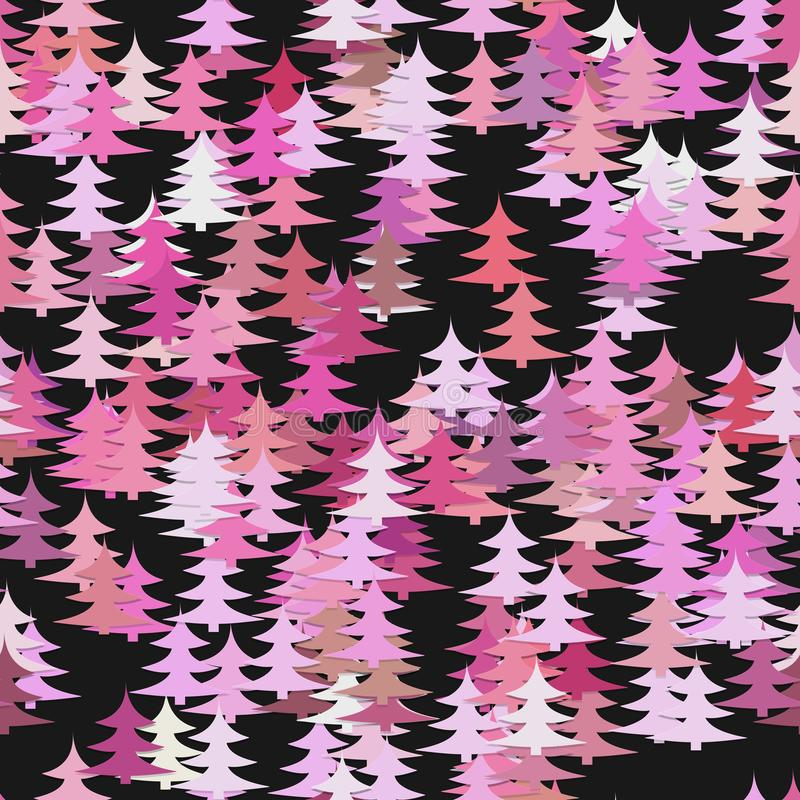 Seamless pine tree pattern background - vector Christmas holiday decoration graphic design with stylized pine trees. Seamless abstract random pine tree pattern royalty free illustration