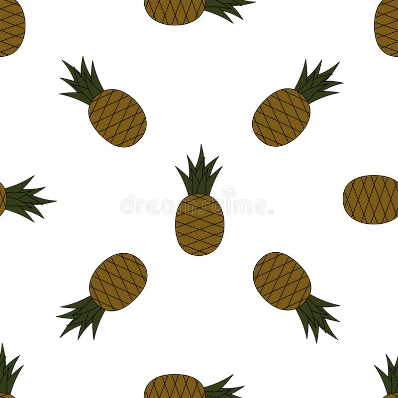Seamless pineapple pattern. Cartoon pineapples on white background. Tropical fruits pattern for textile, wallpapers, web, food sea vector illustration