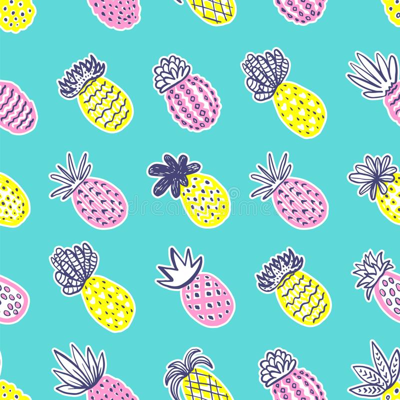 Seamless pineapple pattern. Handdrawn Pinapple with different textures in pastel colors on blue teal background. Exotic royalty free illustration
