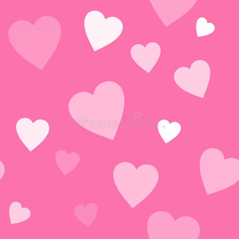 Seamless Pink Background With Hearts Stock Photo