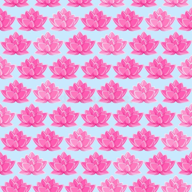 seamless pink för blommalotusblommamodell royaltyfri illustrationer