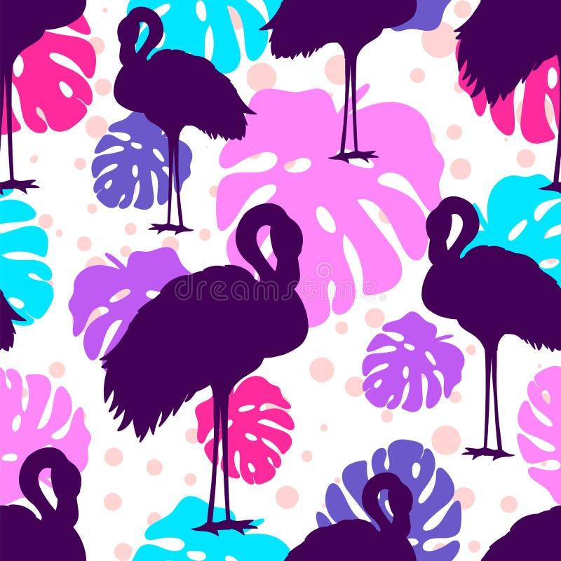 Multicolor Seamless Flamingos pattern. royalty free illustration