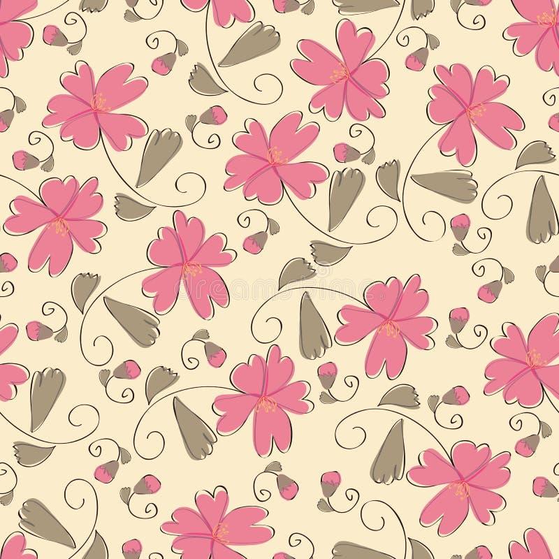 Seamless Pink Flower Pattern Royalty Free Stock Photo