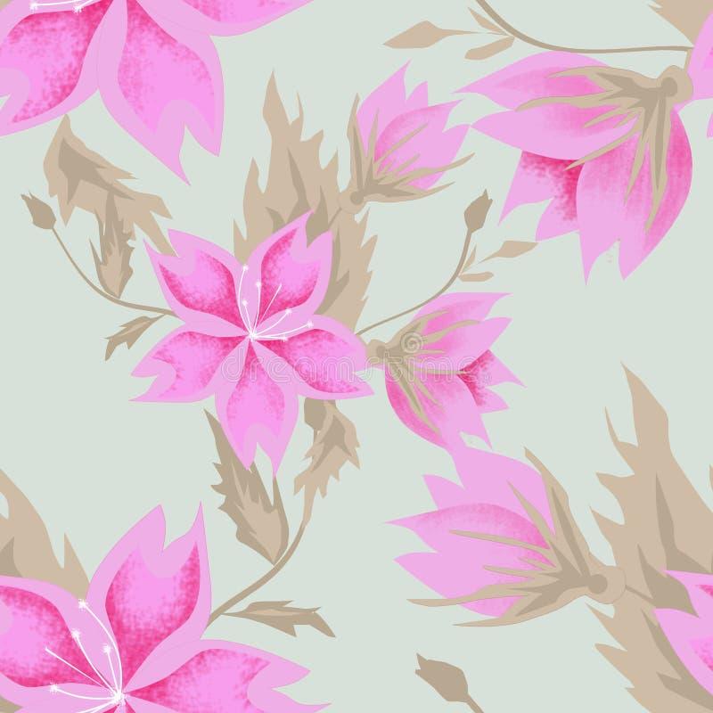 Seamless pink flowers pattern stock photos