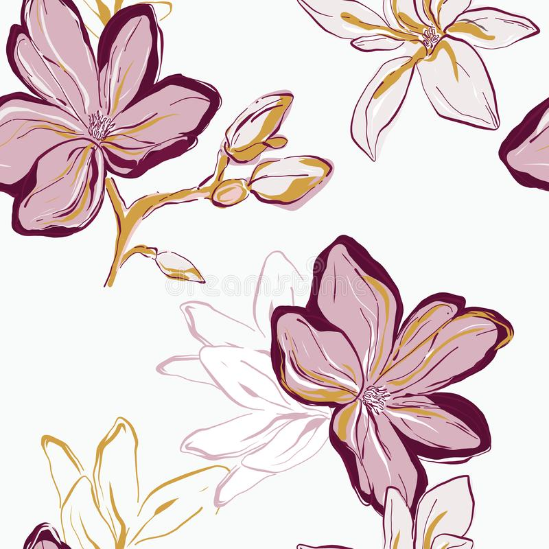 Seamless pink green yellow vector Floral Pattern. Tender contrast flowers on white background. Floral nature surface fabric art stock illustration