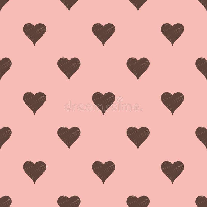 Seamless pink heart textured background vector illustration