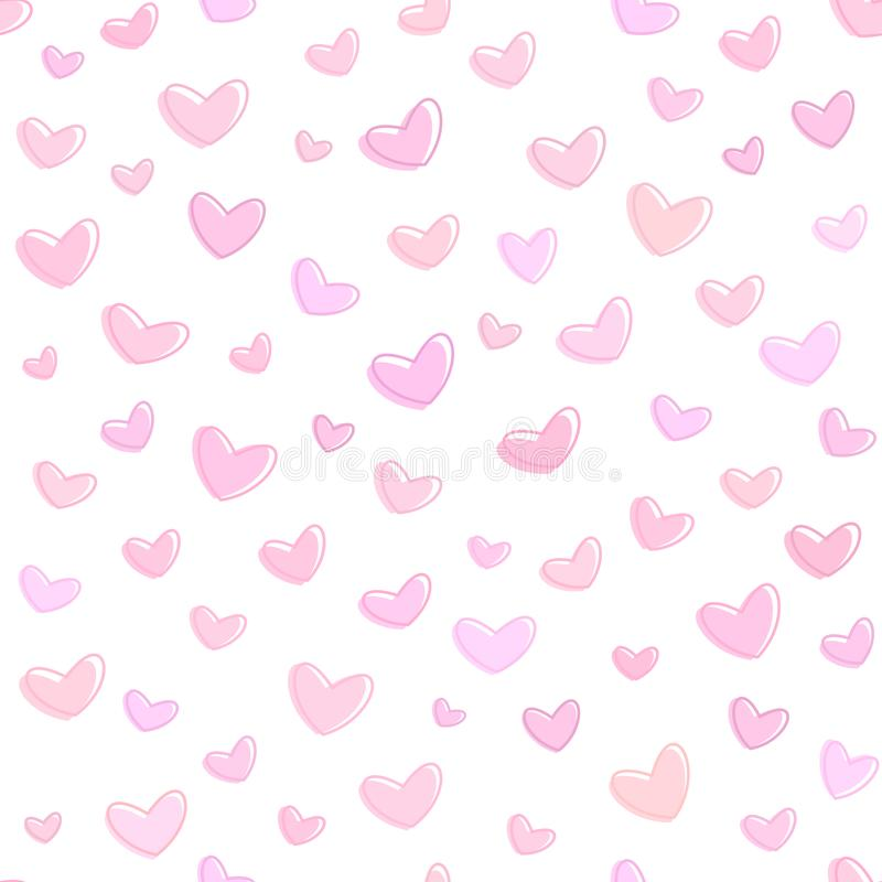 Seamless pink hearts pattern, pink background for saint valentines day, vector wallpaper stock illustration