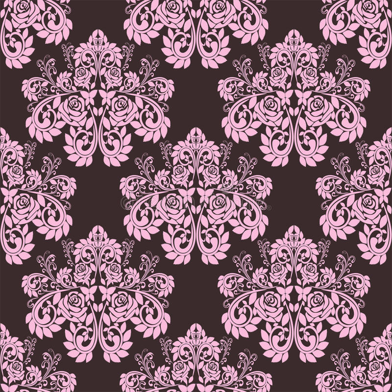 Seamless pink ornate Wallpaper - Ornament with roses. vector illustration