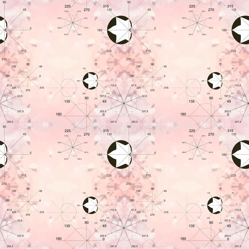 Seamless pink pattern with black and white mathematical illustrations. Algebraic plots in form of leaves and flowers. Math as art. Paper, wallpaper, textile vector illustration