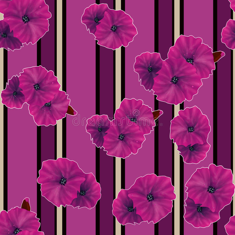 Seamless pink poppy flowers pattern background royalty free illustration